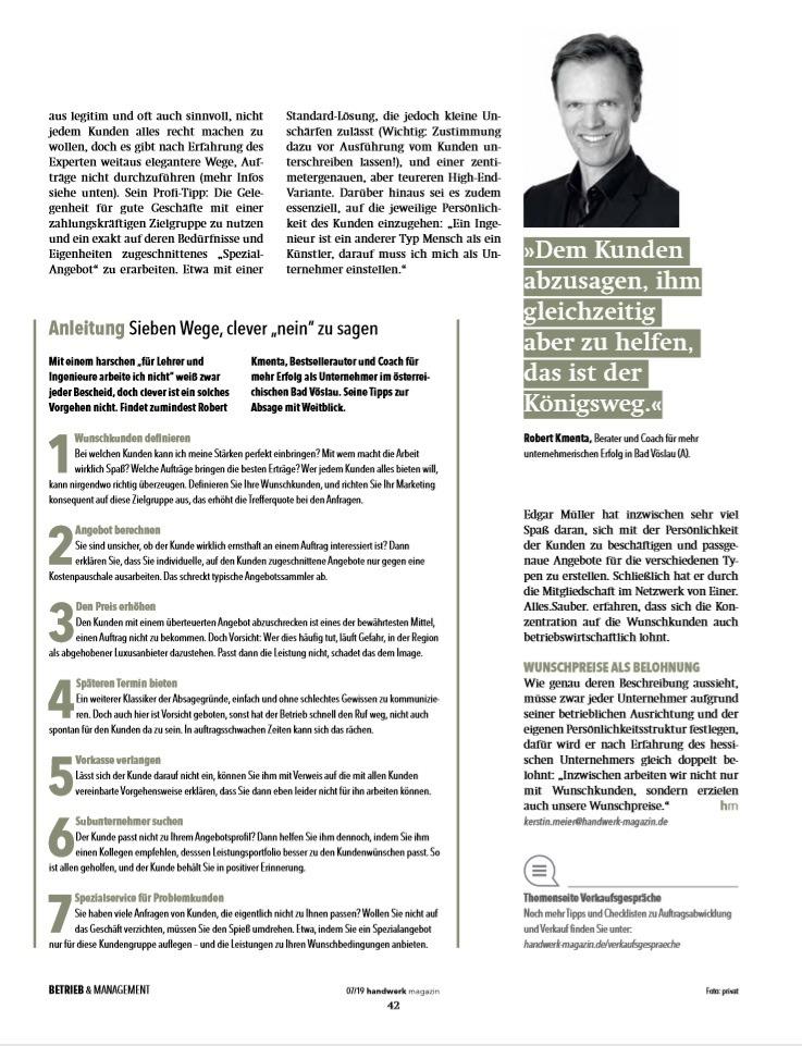 Nein sagen - 3 - handwerks-magazin 07/2019 - Berater und Keynote Speaker Roman Kmenta