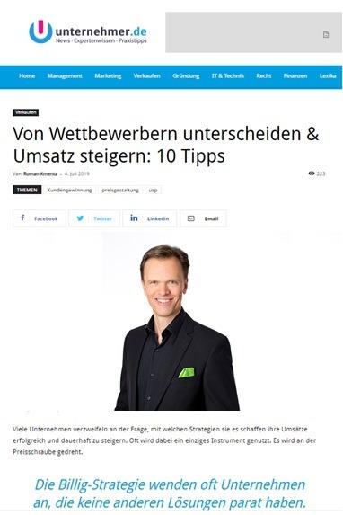 Von Wettbewerb unterscheiden - unternehmer.de 06/2019 - Roman Kmenta - Keynote Speaker und Autor