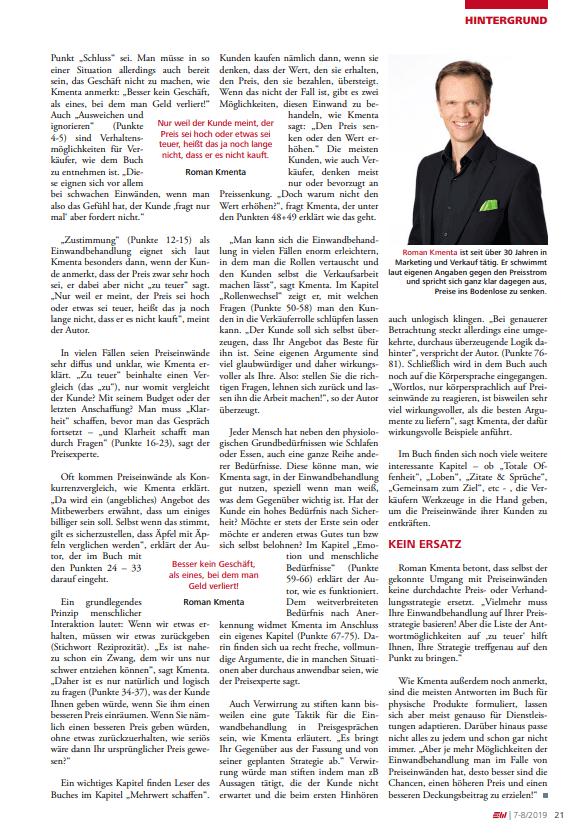 Nie mehr sprachlos in Preisgesprächen - E&W - Juli 2019 - 2 - Mag. Roman Kmenta - Keynote Spaker und Autor