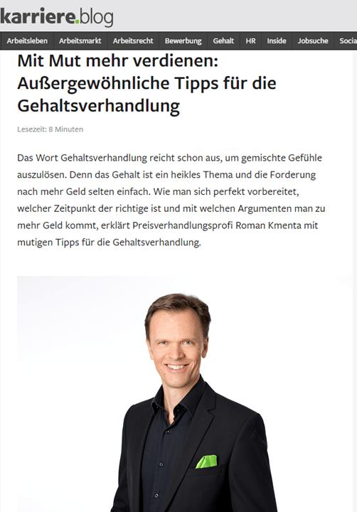 Tipps für die Gehaltsverhandlung - karriere.at 10-2019 - Mag. Roman Kmenta