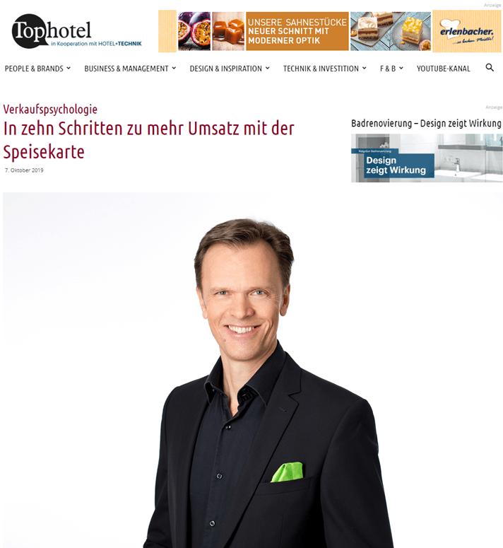 Tophotel - Verkaufspsychologie: In 10 Schritten zu mehr Umsatz mit der Speisekarte - Roman Kmenta - Gastro-Coach und Keynote Speaker - 10/2019