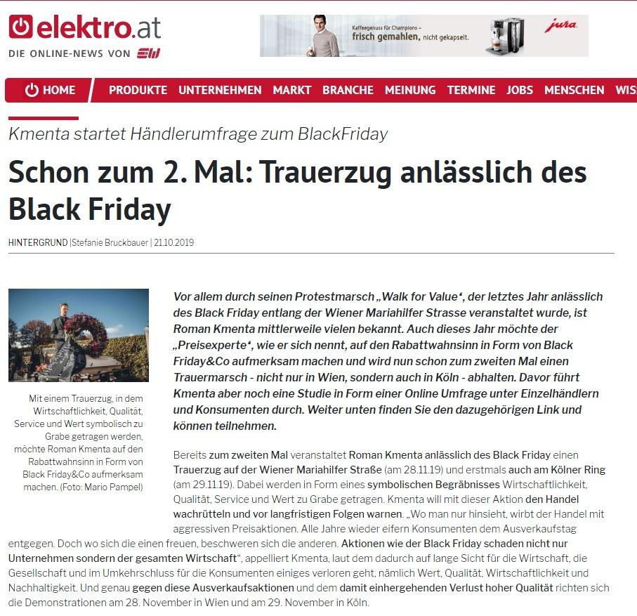 Schon zum 2. Mal: Trauerzug anlässlich des Black Friday - Roman Kmenta - Beitrag bei Elektro.at - 10/2019
