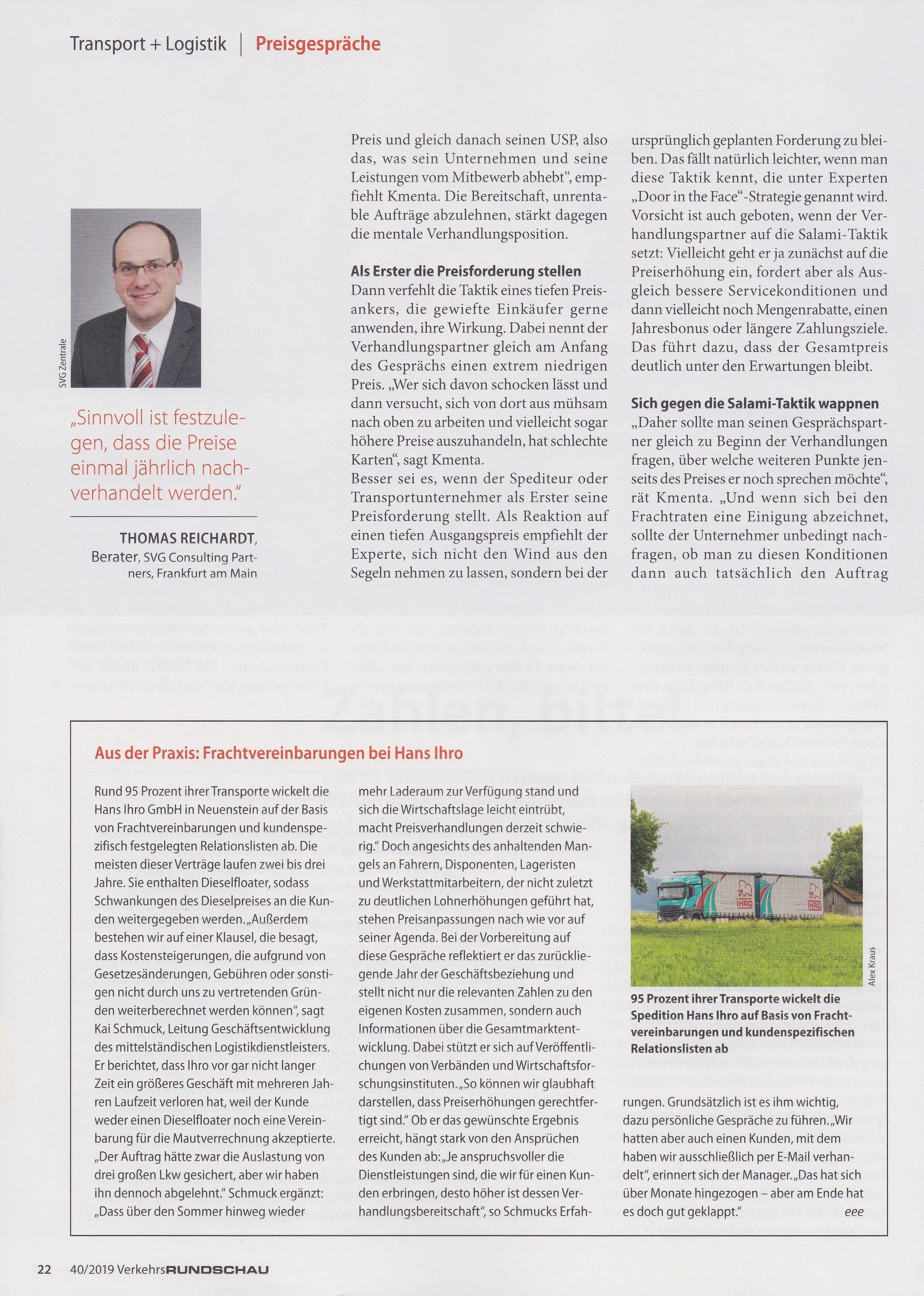 Verkehrsrundschau 40 2019 - 3 - Roman Kmenta - Tipps fürs Preisgespräch
