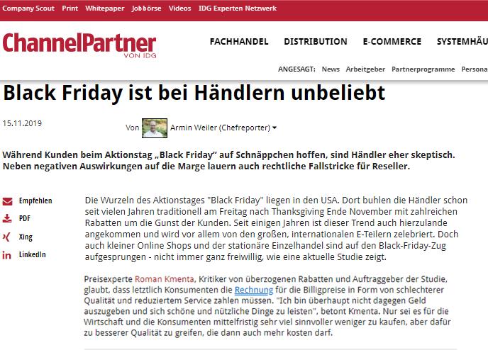 Black Friday ist bei Händlern unbeliebt - Studie Black Friday - Roman Kmenta - ChannelPartner - 11-2019