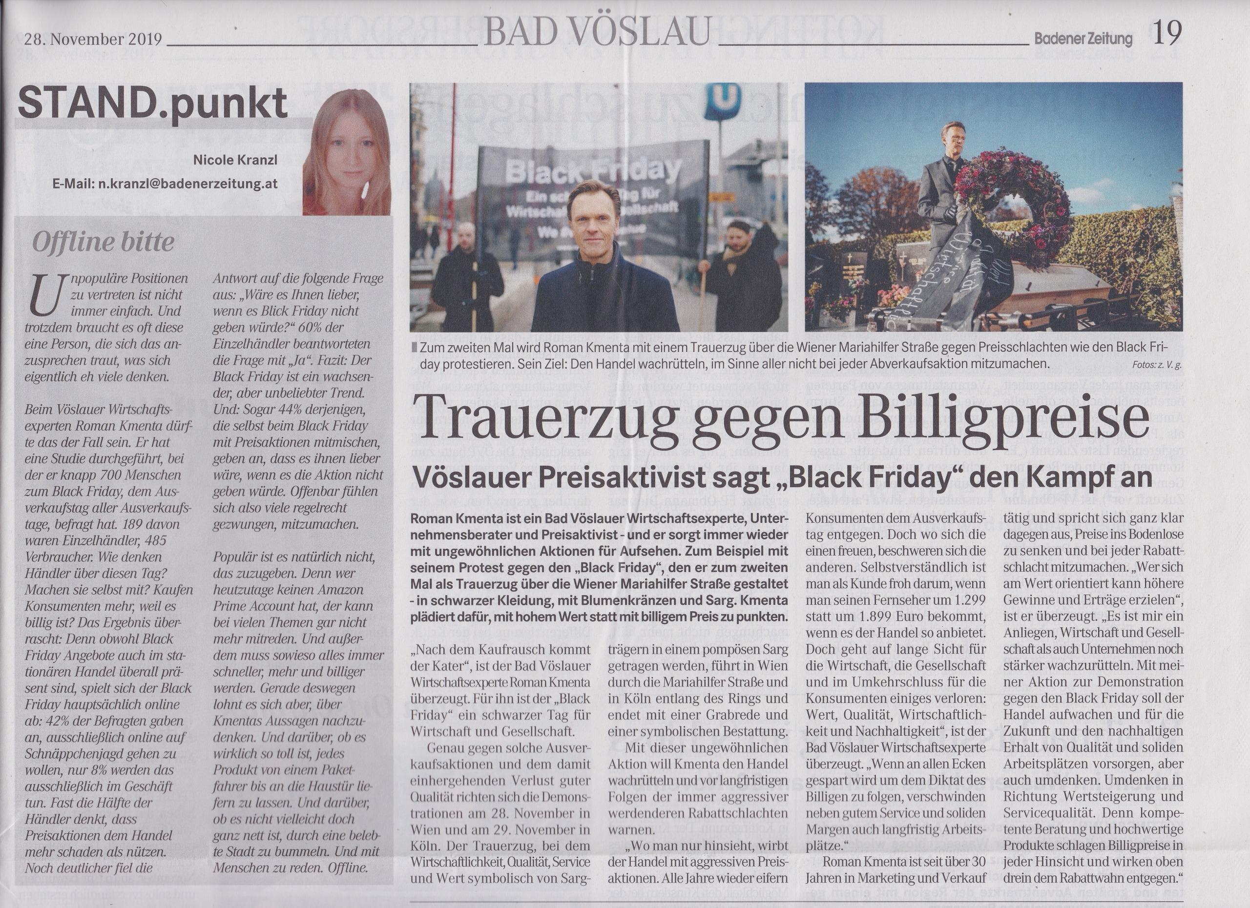 Trauerzug von Mag. Roman Kmenta gegen Billigpreise - Badener Zeitung 11/2019 - 1