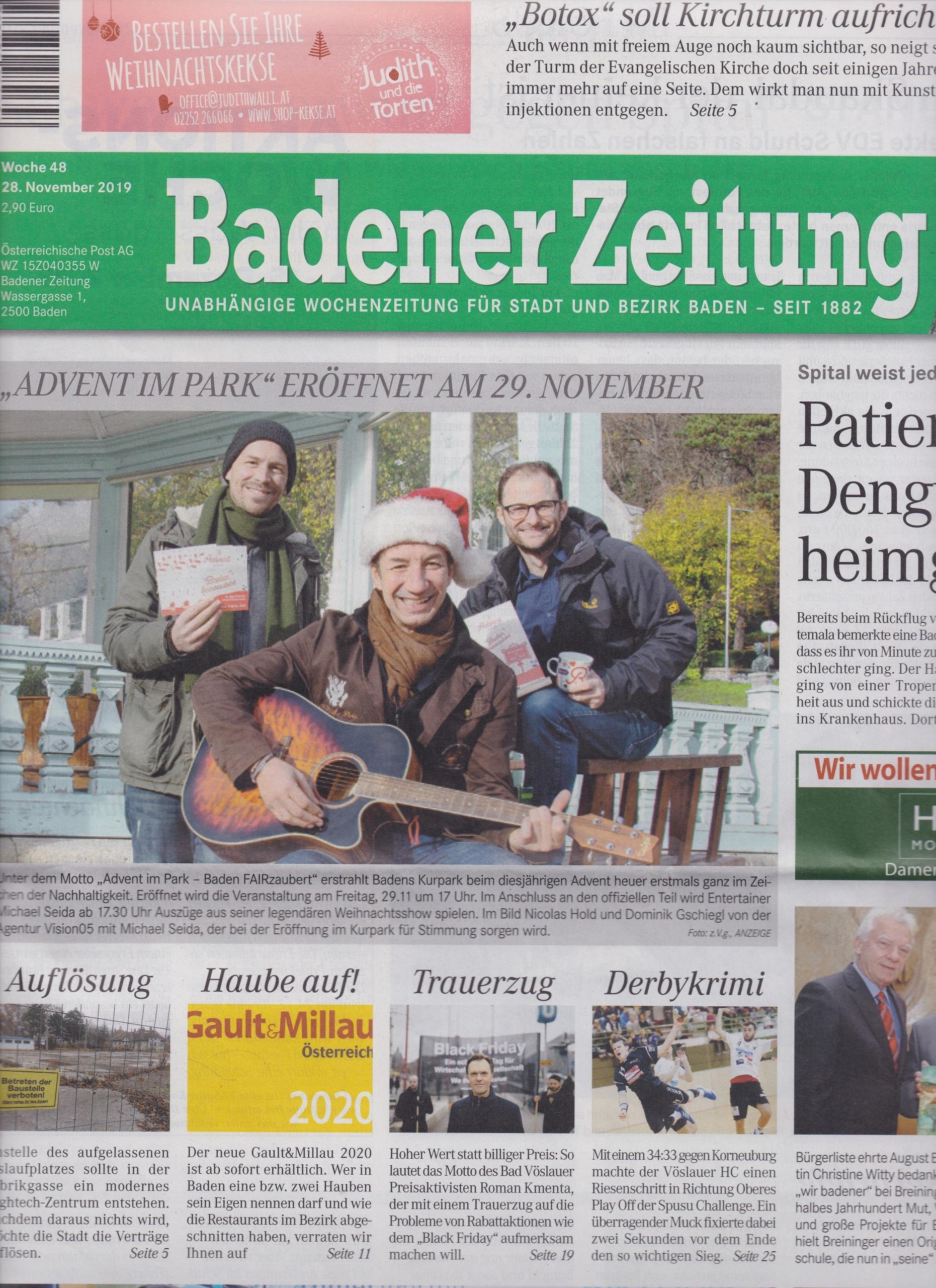 Trauerzug von Mag. Roman Kmenta gegen Billigpreise - Badener Zeitung 11/2019 - Cover