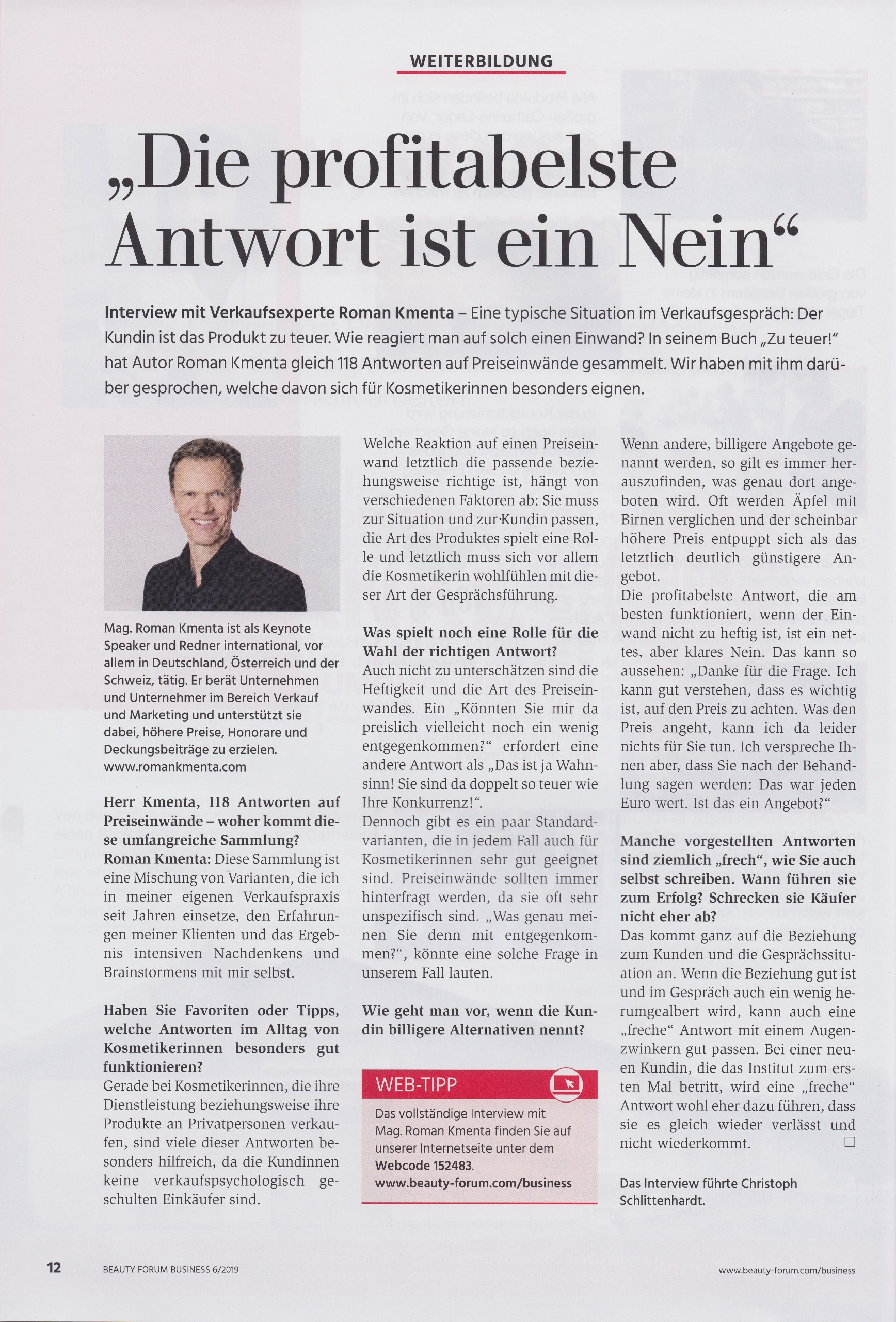 Die profitablste Antwort ist NEIN - Interview mit Roman Kmenta - Beauty Forum Business - 6 2019 Cover