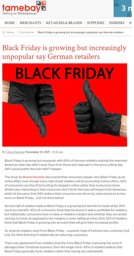 Black Friday Studie 2019 - Englischer Online Beitrag bei tamebay 11/2019