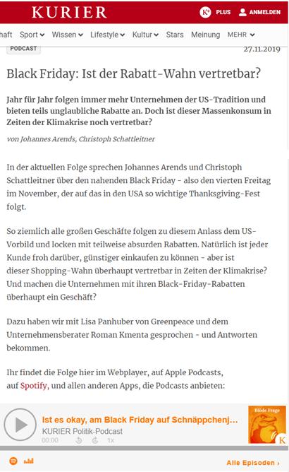 Black Friday 2019: Ist der Rabatt-Wahn vertretbar? Kurier Politik-Podcast mit Mag. Roman Kmenta - 11/2019