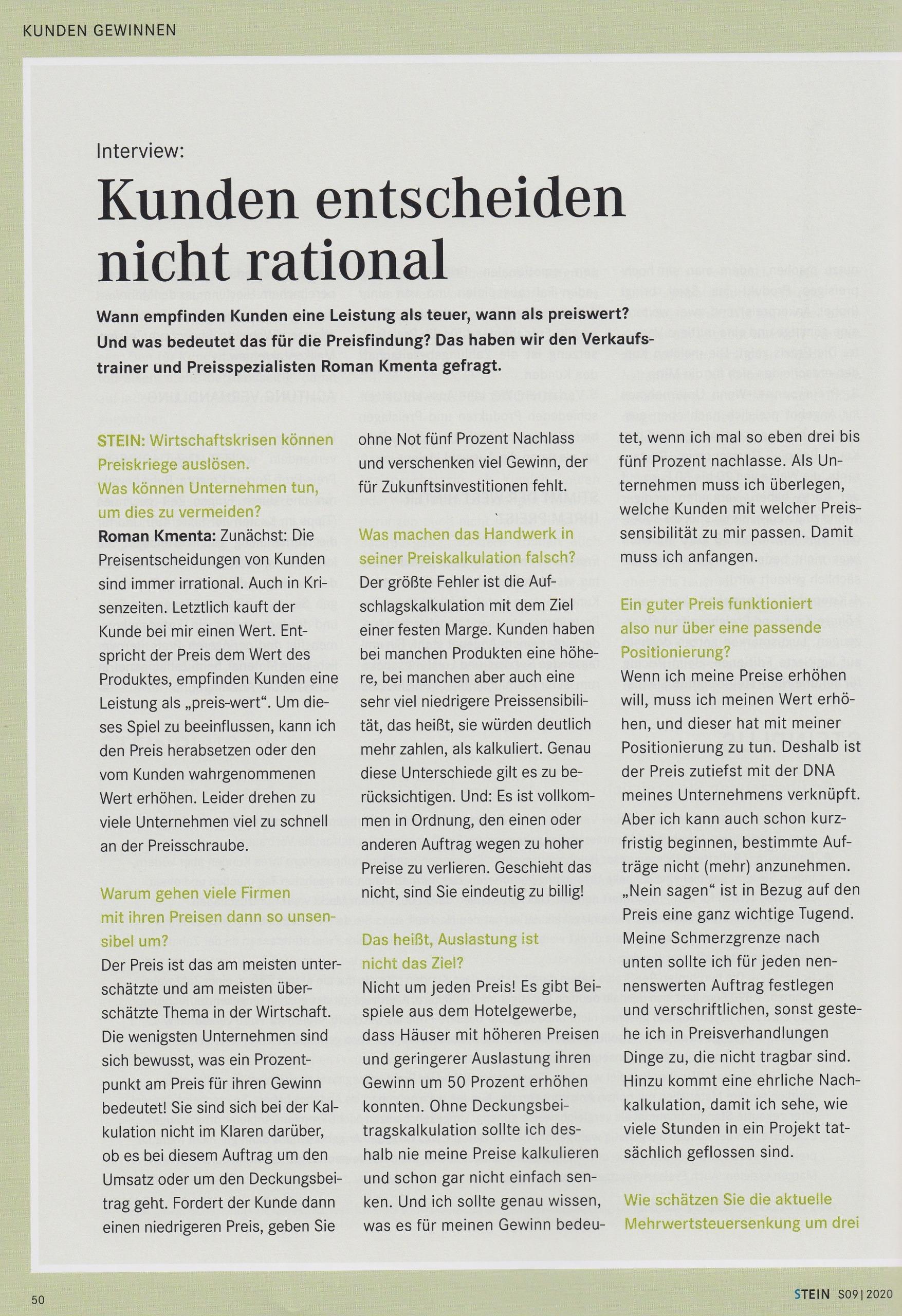 STEIN 09/20 - Kunden entscheiden nicht rational - Roman Kmenta - Vortragsredner und Autor