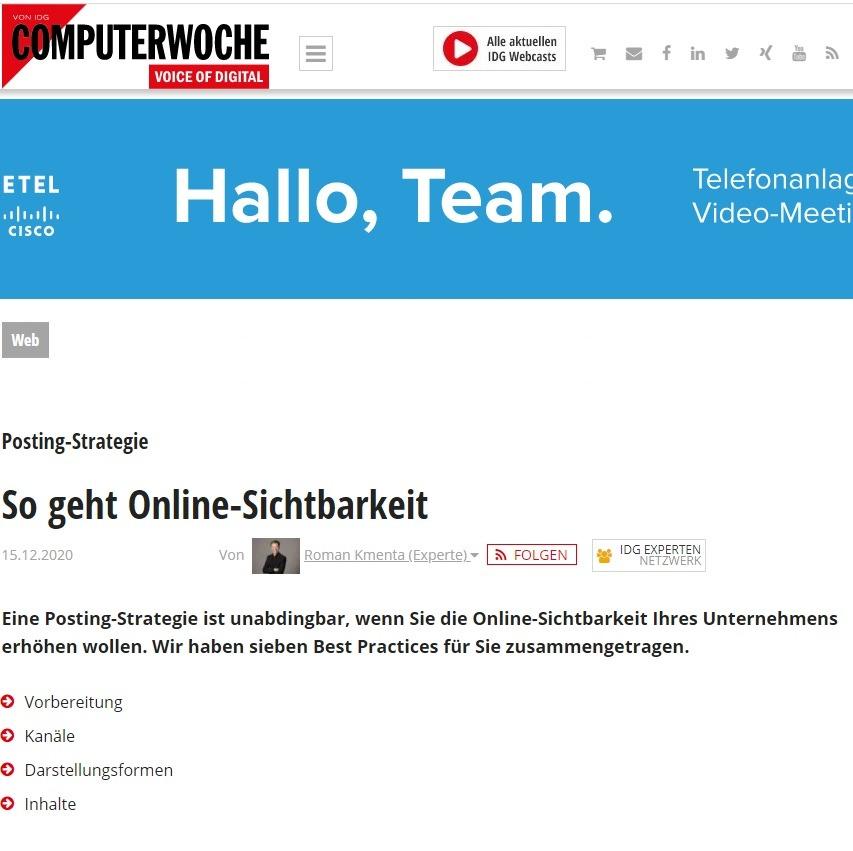 So geht Online-Sichtbarkeit - Computerwoche 12/2020 - Mag. Roman Kmenta - Autor und Vortragsredner