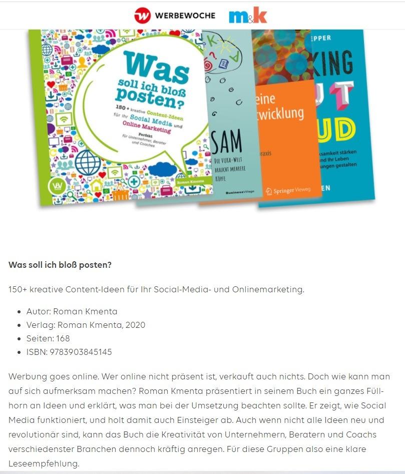 """Buchtipp-Werbewoche - """"Was soll ich bloß posten"""" - Autor und Vortragsredner Mag. Roman Kmenta"""