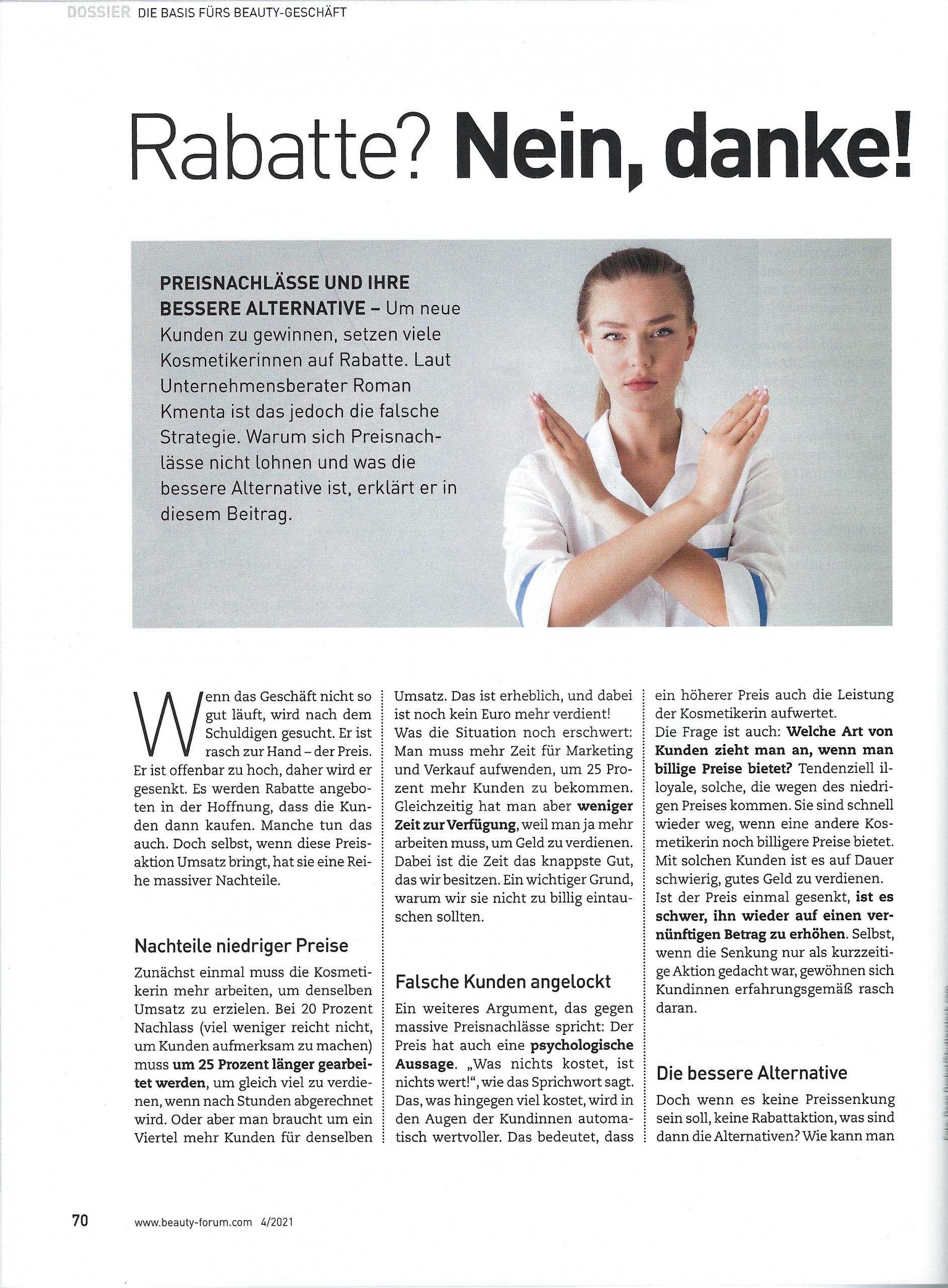 Artikel Beauty Forum Seite 1 - Mag. Roman Kmenta - Autor und Keynote Speaker