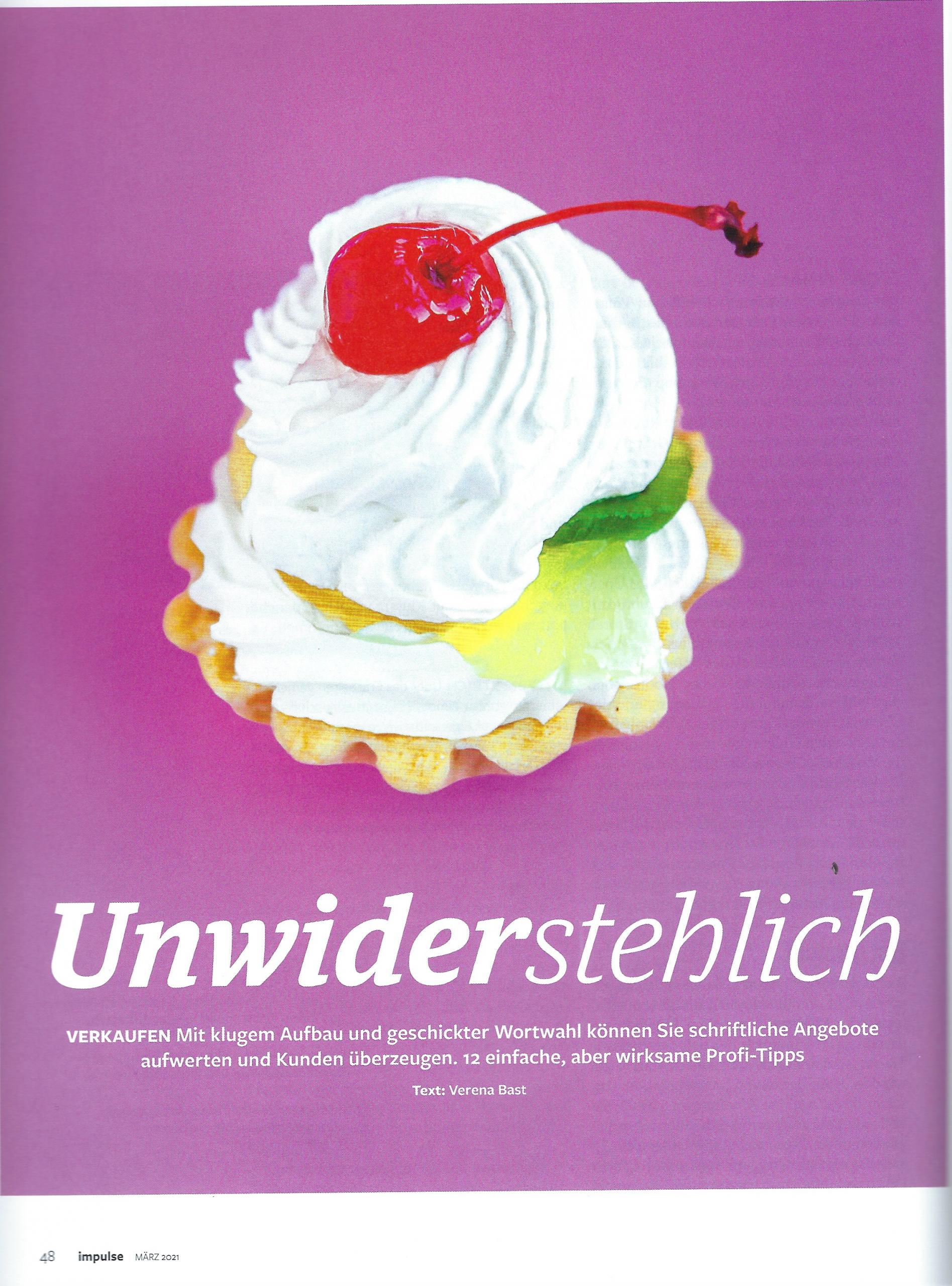 """Artikel """"Unwiderstehlich verkaufen"""" Impulse Seite 1 - Mag. Roman Kmenta - Autor und Keynote Speaker"""