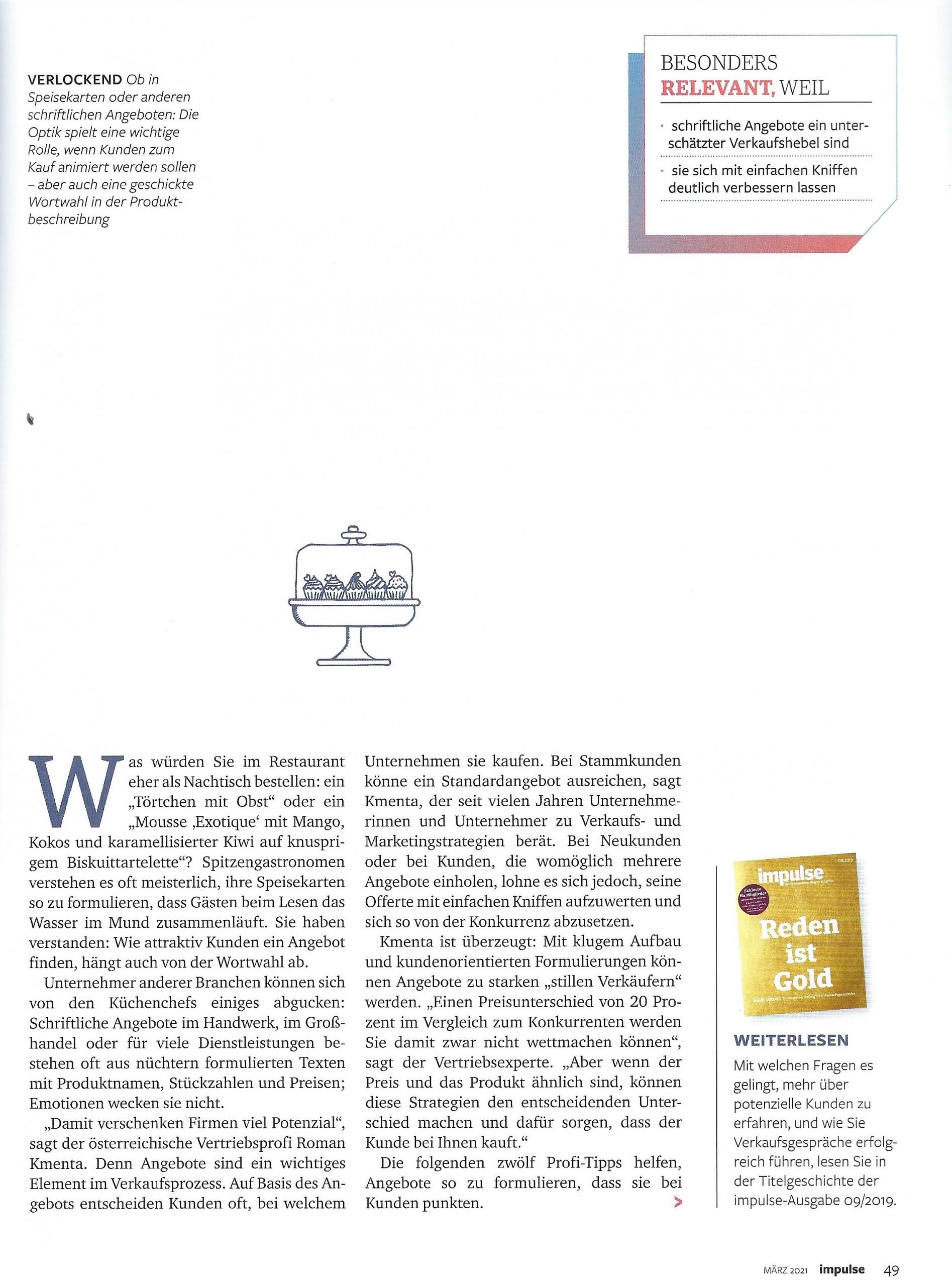 """Artikel """"Unwiderstehlich"""" Impulse Seite 2 - Mag. Roman Kmenta - Autor und Keynote Speaker"""