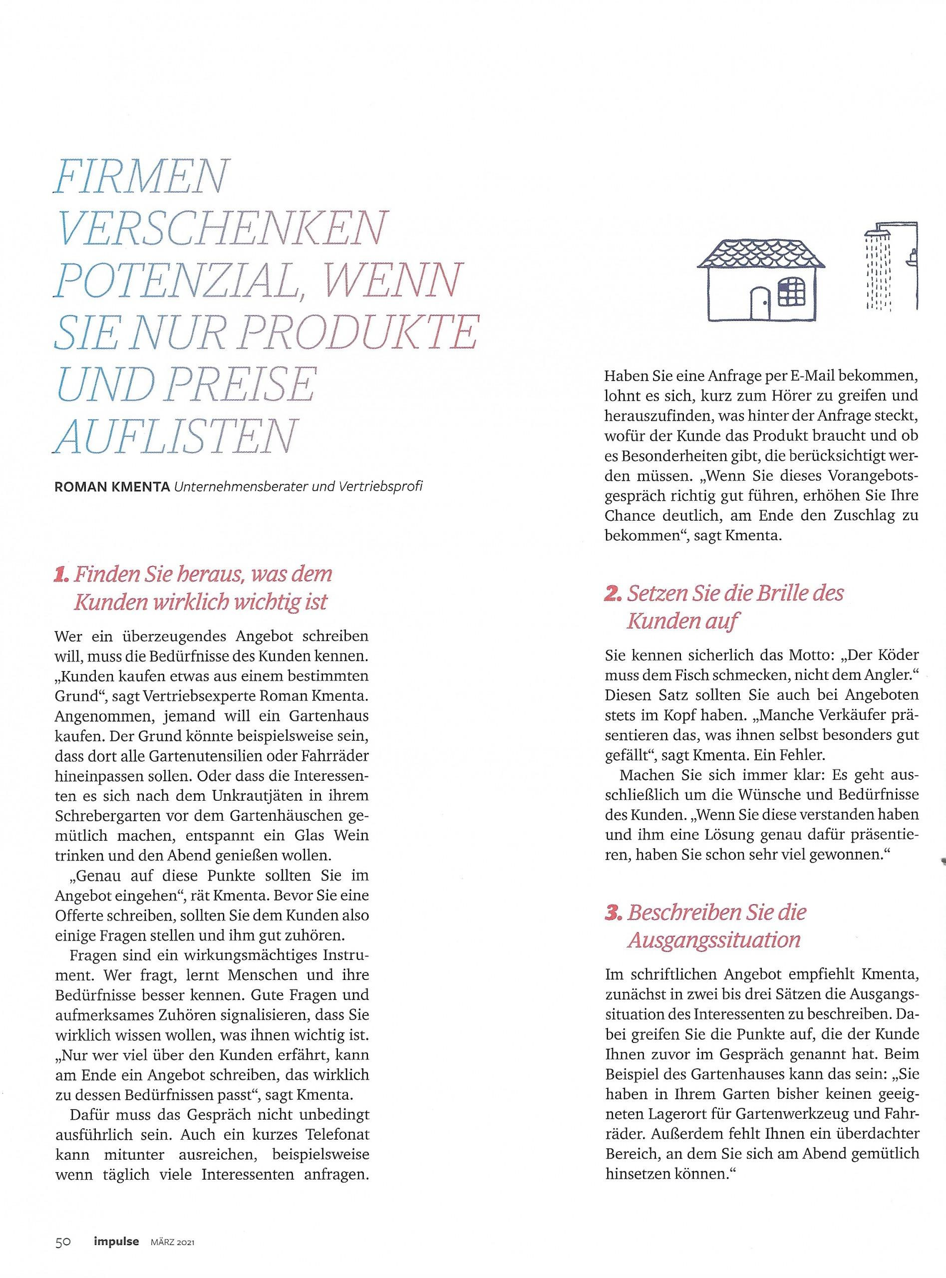 """Artikel """"Unwiderstehlich"""" Impulse Seite 3 - Mag. Roman Kmenta - Autor und Keynote Speaker"""