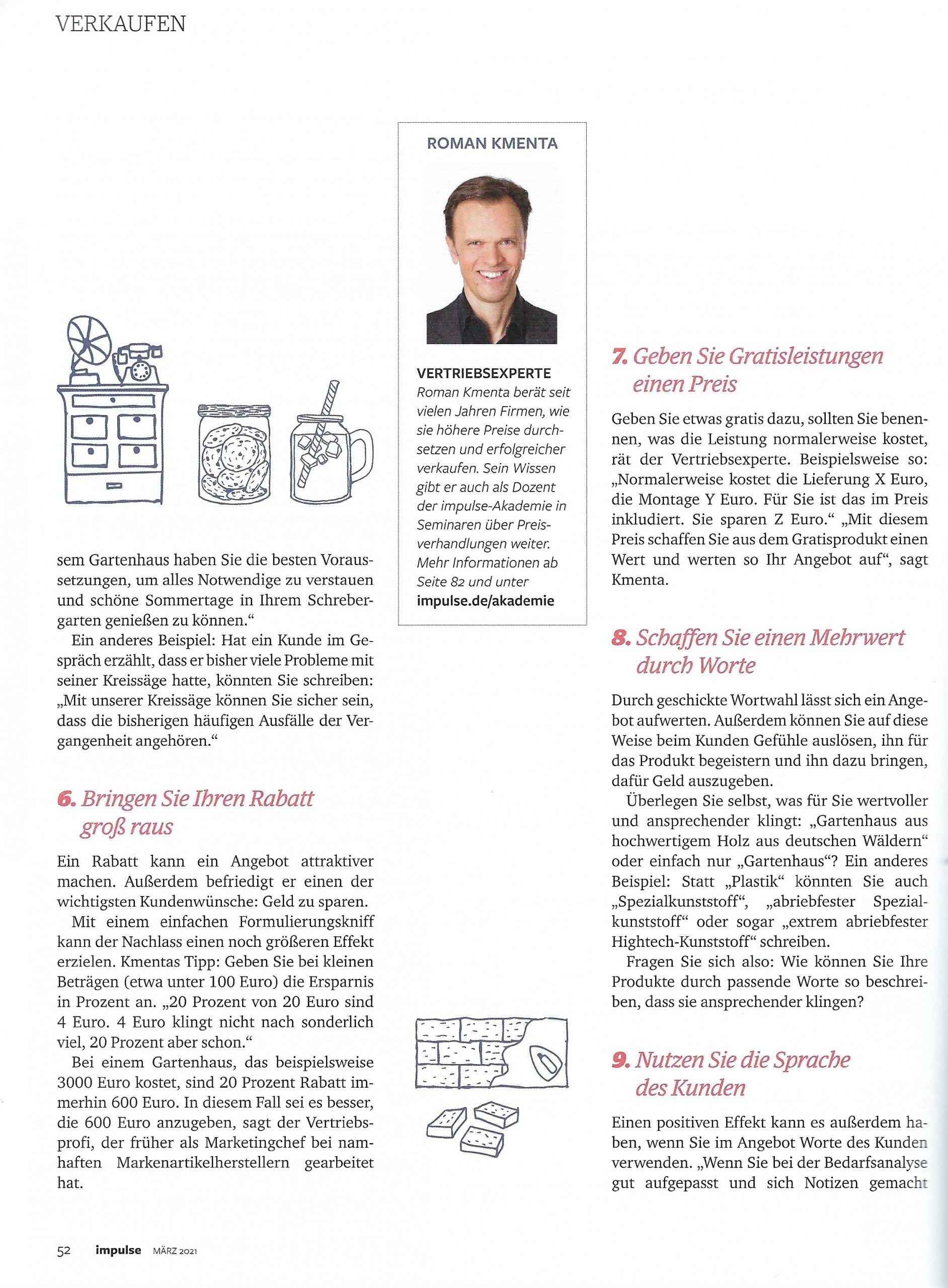 """Artikel """"Unwiderstehlich"""" Impulse Seite 5- Mag. Roman Kmenta - Autor und Keynote Speaker"""