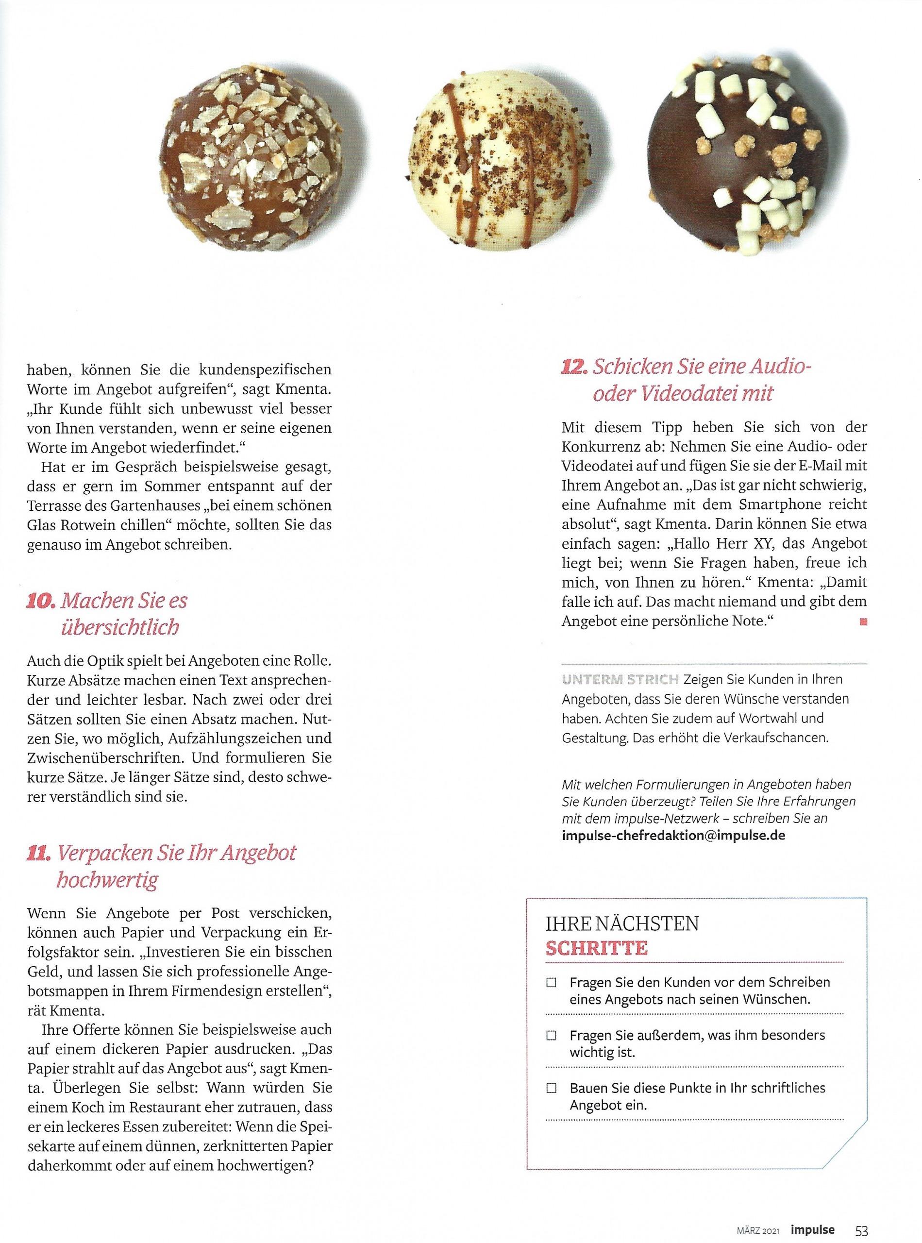 """Artikel """"Unwiderstehlich"""" Impulse Seite 6 - Mag. Roman Kmenta - Autor und Keynote Speaker"""
