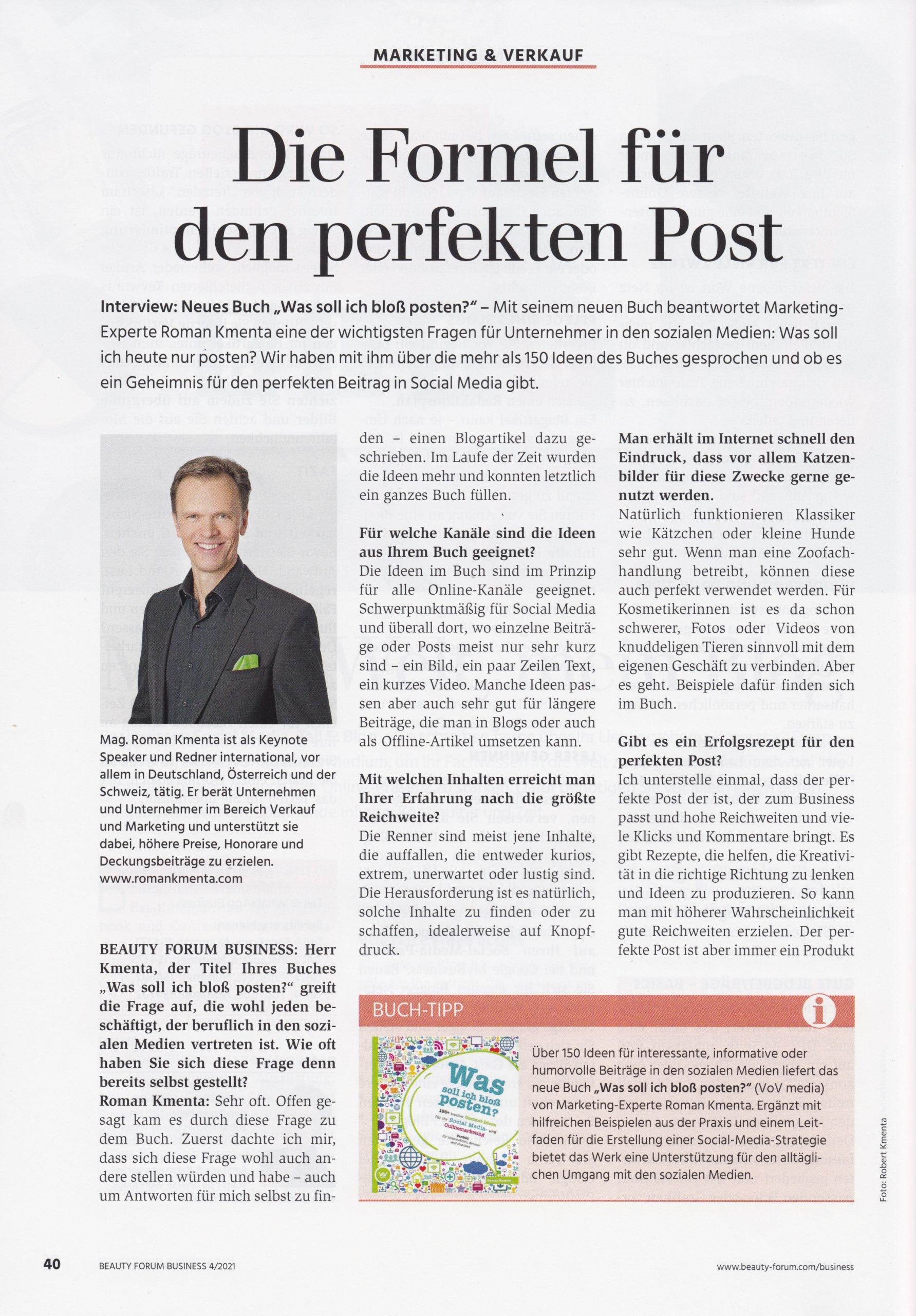 Beauty Forum Business - 04-21 - 1 - Mag. Roman Kmenta - Autor und Vortragsredner