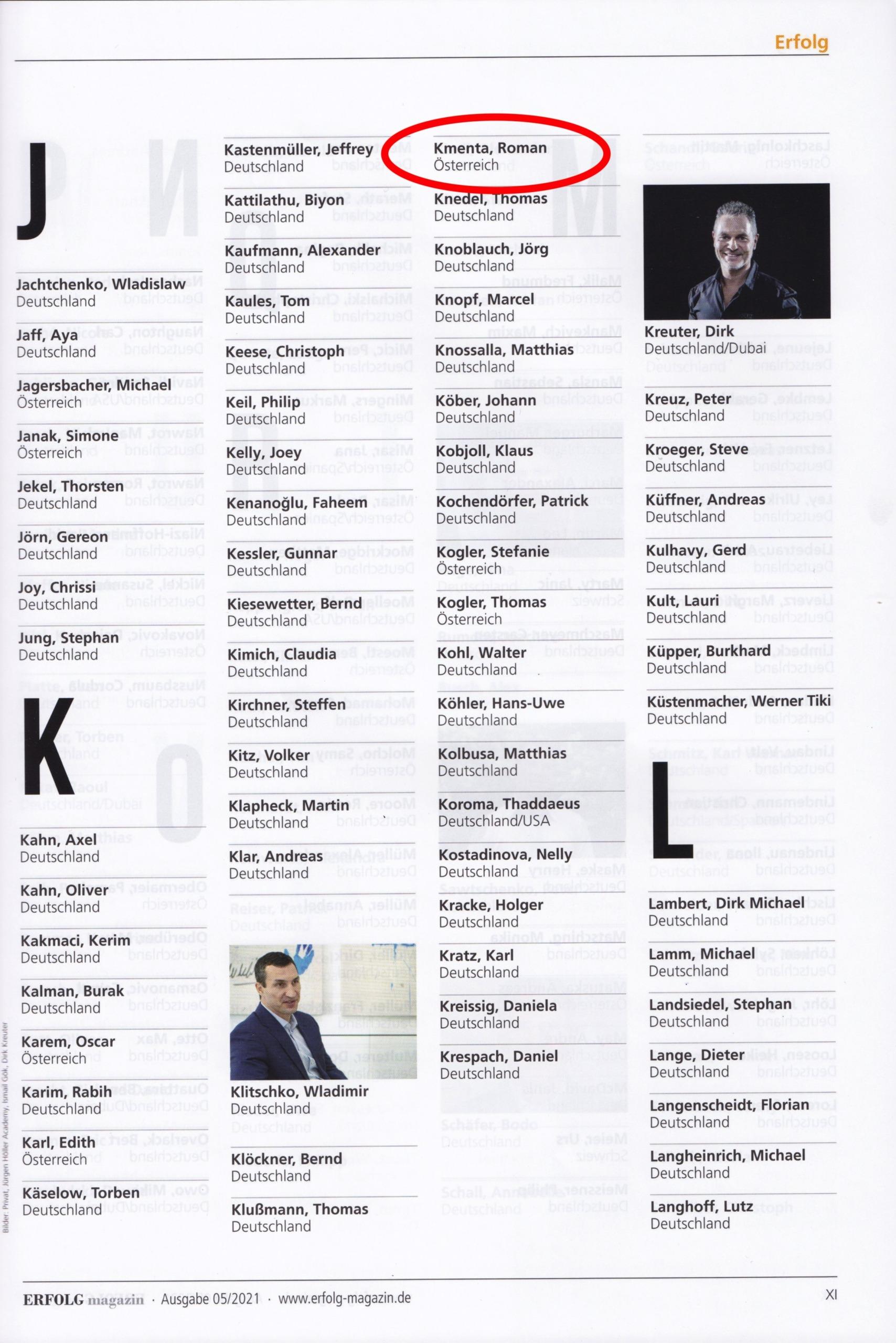 Erfolg Magazin 2021 - Die 500 wichtigsten Köpfe - 1 - Mag. Roman Kmenta