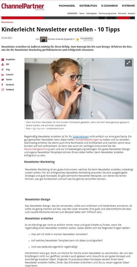 Kinderleicht Newsletter erstellen - Channelpartner - Mag. Roman Kmenta